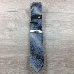 JF J. Ferrar Gray Gradient Paisley w/ Clip Tie